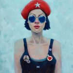 Girl with Beret and Badges