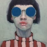 Girl with Stripes and Round Glasses