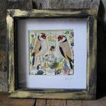 Silver Heart  Goldfinch Pair